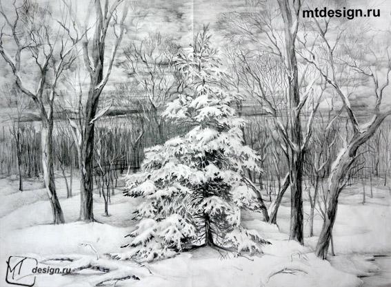 Как нарисовать деревья карандашом — 4